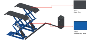 E-plus ECO3000 LITE schaarhefbrug opbouw wielvrij ROOD en BLAUW-0
